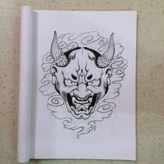 Hannya mask tattoo design reference by Horimouja Japanese Flash Book . Hannya Mask Tattoo, Tattoo Stencils, Pencil Art Drawings, Design Reference, Tattoo Designs, Sketches, Book Tattoo, Japanese, Tattoos