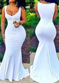 Solid White Sleeveless Maxi Mermaid Dress