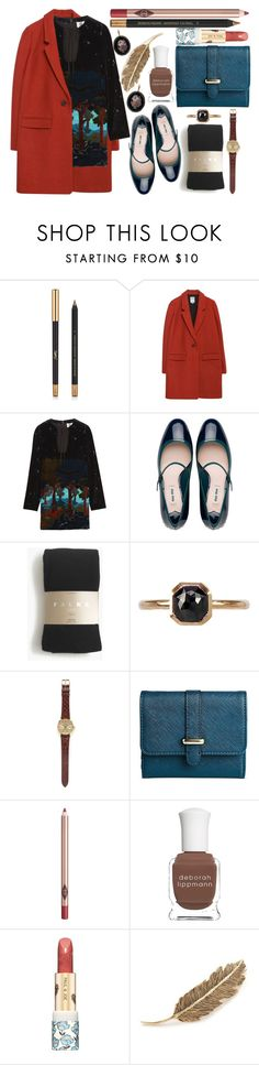 """Late for the love of my life"" by karllydolly ❤ liked on Polyvore featuring Yves Saint Laurent, Zara, Topshop Unique, Miu Miu, Falke, Mike Saatji, Rolex, Merona, Charlotte Tilbury and Deborah Lippmann"
