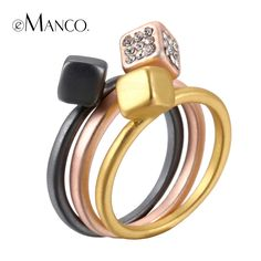 Three color alloy rings multilayer round finger ring  trendy zinc alloy rhinestone multi wear ring women bague femme
