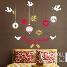 Christmas Ornaments Wall Decal  joy dove peace by NouWall on Etsy