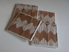 Wood Chevron Coaster Set by PickadillyGarden on Etsy
