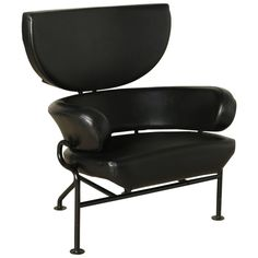 Metal Leather Three Elements Armchair by Franco Albini and Franca Helg for Poggi ca.1960's