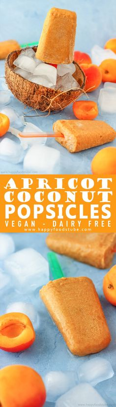 These apricot coconut popsicles are the perfect frozen treat. They are rich, refreshing and quick to make. Only and ready in + vegan and dairy-free. via Happy Foods Tube Vegetarian Desserts, Vegan Sweets, Healthy Dessert Recipes, Real Food Recipes, Delicious Desserts, Snack Recipes, Vegan Vegetarian, Vegan Recipes, Snacks