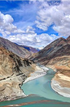 Confluence of the Indus and Zanskar rivers, India.