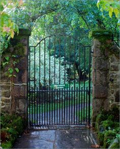 Garden gate - I like the simplicity of this especially with the stone wall and the lush greenery surrounding it.