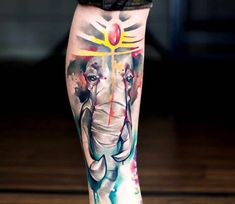 Watercolor elephant tattoo by uncl paul Sleeve Tattoos For Women, Tattoos For Guys, Watercolor Elephant Tattoos, Tattoo Designs, Aquarell Tattoo, Gif Disney, Wild Tattoo, Tattoo Videos, Gorgeous Tattoos