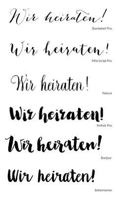 Schreibschrift und Kalligrafie Schriftarten für die Hochzeit
