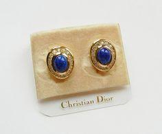 Chritstian Dior Lapis Lazuli w/Crystals Clip by RockArtemisVintage, $80.00