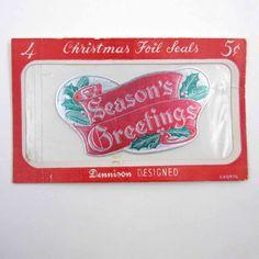 Vintage Dennison Foil Christmas Gummed Seals by grandmothersattic