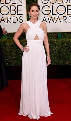 emily blunt in michael kors at the 2015 #goldenglobes