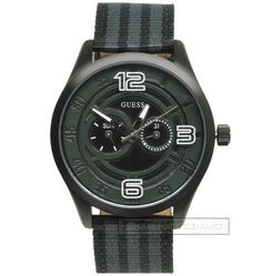 Guess Mens Watch Black-Ion Day/Date Leather/Nylon Striped Band, New, $135 MSRP