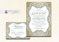 Hey, I found this really awesome Etsy listing at https://www.etsy.com/listing/195500989/mint-lace-burlap-wedding-invitation-rsvp