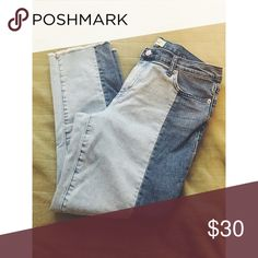 GAP Two-Tone Denim Worn once and washed. Frayed hem (designed this way). Straight leg. GAP Jeans Ankle & Cropped