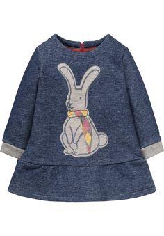 Dark blue sweat dress 'Hanuka', featuring a bunny applique detail and a short zipper on the back.