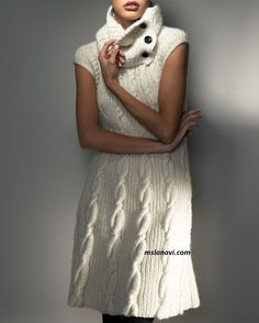 Вязаное платье со съемным воротником - СХЕМА http://mslanavi.com/2017/05/vyazanoe-plate-so-semnym-vorotnikom/