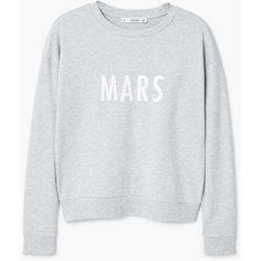 Printed Cotton Sweatshirt ($25) ❤ liked on Polyvore featuring tops, hoodies, sweatshirts, long sleeve tops, long sleeve sweatshirt, print sweatshirt, round top and cotton sweatshirts