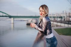 Metalic leather jacket fall outfit