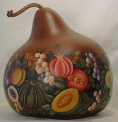 Abundant Harvest - Hand Painted Gourd. $325.00, via Etsy.