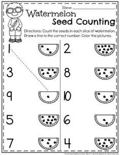 Summer Preschool Worksheets - Planning Playtime - matematik calisma - Preschool Counting Worksheets for Summer – Watermelon Seed Counting - Preschool Writing, Numbers Preschool, Preschool Learning Activities, Preschool Classroom, Preschool Activity Sheets, Teaching Numbers, Classroom Ideas, Printable Preschool Worksheets, Kindergarten Math Worksheets