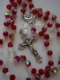 Items similar to Handmade Rosary, Red Crystal AB on Etsy Items. Items similar to Handmade Rosary, Red Crystal AB on Etsy Items… Items similar Diy Rosary Necklace, Rosary Bead Tattoo, Rosary Beads, Prayer Beads, Catholic Jewelry, Rosary Catholic, Holy Rosary, Catholic Crafts, Beaded Jewelry Designs