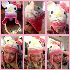 Hello kitty crocheted hats for sale ! Made to order order ! Customize your colors ! Message me !
