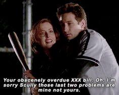 Shut up, Mulder. I'm playing baseball.