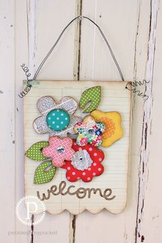 Floral Welcome Wood Craft by pebblesinmypocket.com