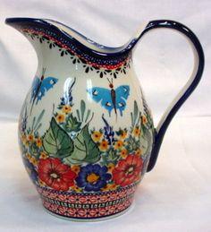 Boleslawiec UNIKAT Polish Pottery Butterfly Dancing Pitcher Art 149 Signed Blue