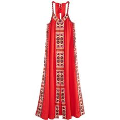 CALYPSO St. Barth Dalbi Jacquard Embellished Maxi Dress (1.763.880 COP) ❤ liked on Polyvore featuring dresses, boho, milanocc, beaded dress, red beaded dress, boho style dresses, boho maxi dress and bohemian maxi dress