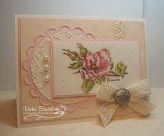Beautiful, feminine, lace, spellbinders scalloped circle, and flowers. Nice.