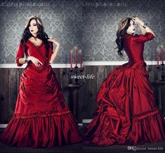 Let charming lace ball gown on DHgate.com get your heart. Besides, linen wedding dress and plus wedding dresses are also winners. vintage gothic plus size wine red bridal wedding dresses with sleeves taffete 2016 scary dracula mina movie ball gown cosplay costumes dress belong to you and sweet-life can cheer you up.