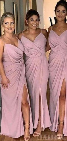 Side Slit Spaghetti Straps Dusty Pink Cheap Bridesmaid Dresses Online,WG759#bridesmaids #bridesmaiddress #bridesmaiddresses #dressesformaidofhonor #weddingparty #2020bridesmaiddresses