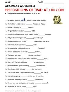 English Grammar Prepositions of Time: at, in, on www. com/time-at--in--on. English Grammar For Kids, English Grammar Rules, English Grammar Worksheets, Grammar And Vocabulary, Grammar Lessons, English Vocabulary, Grammar Activities, Preposition Activities, Listening Activities