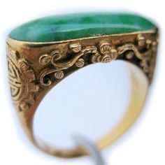 ANTIQUE VINTAGE Old 22K Solid GOLD JADE Gemstone Green STONE Saddle RING Marked $10000 ... we sell more VINTAGE and ANTIQUE JEWELRIES at http://www.TropicalFeel.com