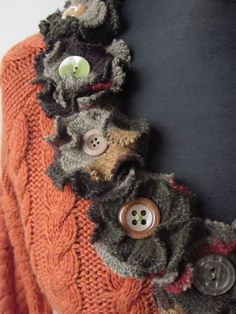 Burnt Orange Cable Knit Sweater with Sweater Flowers / Upcycled Clothing / Women Tops Sweaters / by Garage Couture - Linda Lou Old Sweater, Cable Knit Sweaters, Green Sweater, Sewing Clothes, Diy Clothes, Clothes Refashion, Pullover Upcycling, Recycled Sweaters, Refashioning