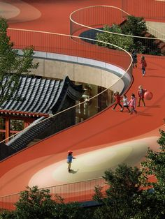 MAD unveils plans for Courtyard Kindergarten with red rooftop playground in Beijing Landscape Architecture, Landscape Design, Architecture Design, Computer Architecture, Architecture Portfolio, Patio Chino, Chinese Courtyard, Kindergarten Design, Eco City