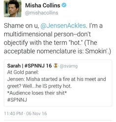 Jensen about Misha at xD (Destiel) Supernatural Destiel, Castiel, Destiel Headcanon, Demon Trap, Jensen And Misha, Jensen Ackles, Quotes And Notes, Super Natural, Misha Collins