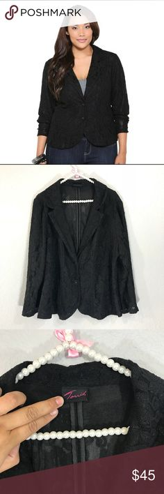 Torrid lace blazer In excellent condition. No snags or rips. The size has been cut. Measurements As followed= closed across chest =22.5 inches. Shoulder to shoulder =18 inches.  Length 24.5 inches torrid Jackets & Coats Blazers