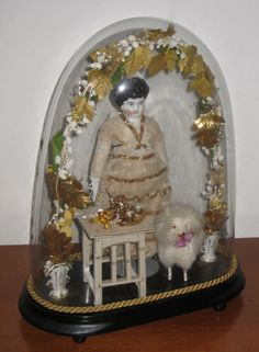 China doll scene in glass dome, made in Germany 1900