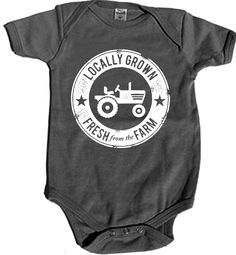"""Organic """"Locally Grown"""" Onesie at Fed By Threads Made In USA! We feed 12 Americans in need from each item sold! Let's get the next generation connected to their farmers. Support American jobs and build a good strong economy while protecting the environment. Post a photo of your baby and tag Fed By Threads! #babies #organic #locallygrown"""