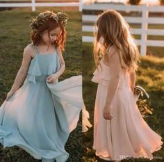 Cheap Bohemian Junior Bridesmaid Dresses Tiered Chiffon A line Flower Girl Dresses for Country Wedding Little Girls Formal Pageant Dresses, Country Bridesmaid Dresses, Bohemian Bridesmaid, Junior Bridesmaid Dresses, Best Wedding Dresses, Cheap Wedding Dress, Trendy Wedding, Wedding Ideas, Wedding Bridesmaids, Lilac Bridesmaid