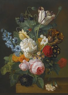 Circle of Gerard van Spaendonck STILL LIFE OF FLOWERS, INCLUDING ROSES, TULIPS AND A HYACINTH, ON A LEDGE | Sotheby's