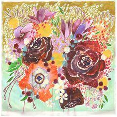 "Image of maroon & mint flowers 40""x40"""