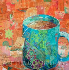 Chai Tea X - Available in my Etsy Store, or contact me directly Mixed Media Collage, Mixed Media Canvas, Paper Collage Art, Art Cart, Cafe Art, Fabric Pictures, Thing 1, Painted Paper, Magazine Art