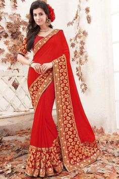 Buy Red Color Designer Sarees online at lowest price at Andaaz Fashion.  http://www.andaazfashion.com/womens/