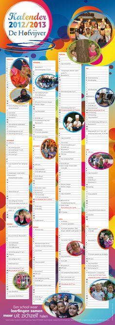 Schoolkalender 2012-2013 voor Basisschool De Hofvijver in Zoetermeer.  Formaat 840 x 297 mm.