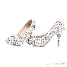 Exquisite Wedding Shoes Rhinestone Winter Wedding Shoes Crystal White High Heel Lace Pearls WS0789 On Sale   Iweddingshoes4u.com