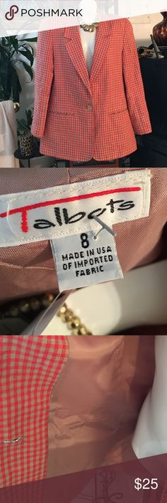 Blazer Red and Tan Jacket with tan button and two front pockets.  Dress up or dress casually. Talbots Jackets & Coats Blazers