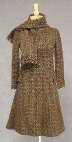 Brown & Black Wool Tweed 1960's Dress w/ Scarf